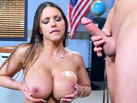 Monster curved Brooklyn Chase got fucked by her student until she got that man juice all over her juicy tits