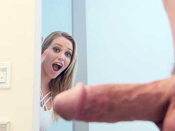 Busty blonde Mia Malkova accidentally sees her stepbrother's cock and then starts sucking it