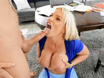 Horny MILF Rachael Cavalli gets her big tits dirty with cum after intense sex