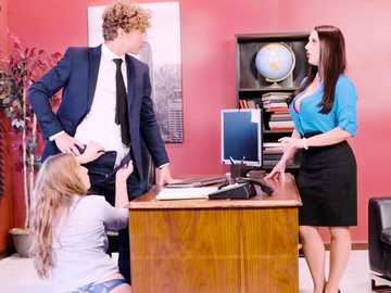 Angela White and Lena Paul fuck in office threesome on April Fool's Day