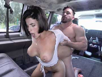 Cheap whore Antonella Lasirena gets drilled by stranger in the dirty van