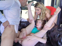 Brooklyn Chase and her hubby make loves with hot red-haired babe Katy Kiss