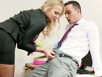 Curly blonde Kayla Green wants to ease tension in guy's crotch