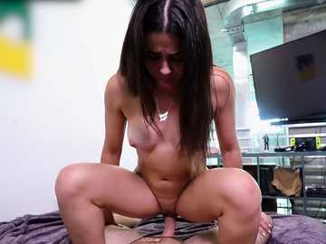 Aroused guy pounds throat and shaved pussy of sexy brunette Kylie Rocket
