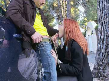 Amarna Miller: Redhead Latina with Pink Nipples Takes A Mouthful