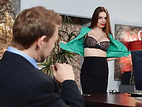 Sexy secretary Veronica Vain will do anything for her boss even give out footjobs to potential ...
