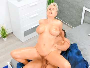 Dude thrusts his pecker into wet twat of chesty cougar Angel Wicky till she cums