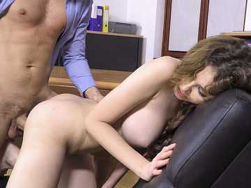 Teen lassie Gisha Forza gets ass fucked and creampied by stepfather's coworker