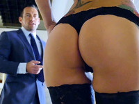 Tall babe Monique Alexander teases her hubby in her sexiest black underwear