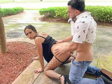 Insatiable whore Ashley Adams turns crazy having dirty sex in public