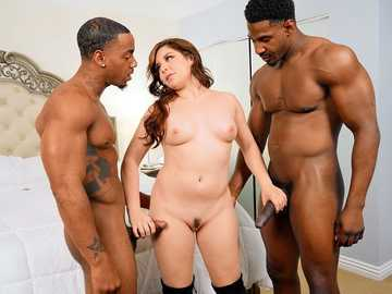 Pussy and throat of lustful Keira Croft get pounded with two black shafts